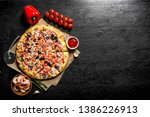 sea pizza with bell peppers ... | Shutterstock . vector #1386226913