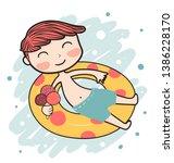 drawing cute yellow bear having ... | Shutterstock .eps vector #1386228170