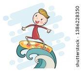 cute drawing surf boy on... | Shutterstock .eps vector #1386228350