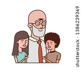 grandfather with children... | Shutterstock .eps vector #1386239369