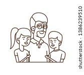 grandfather with children...   Shutterstock .eps vector #1386239510