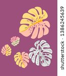vector tropical pattern with... | Shutterstock .eps vector #1386245639