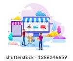 landing page design concept of... | Shutterstock .eps vector #1386246659