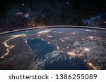 picture of earth in space ... | Shutterstock . vector #1386255089
