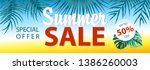 summer sale banner with... | Shutterstock .eps vector #1386260003