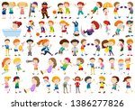 set of exercise people...   Shutterstock .eps vector #1386277826