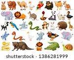 set of cute animal illustration | Shutterstock .eps vector #1386281999