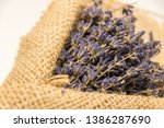lavender bouquet wrapped in... | Shutterstock . vector #1386287690