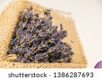 lavender bouquet wrapped in... | Shutterstock . vector #1386287693