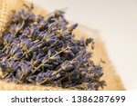 lavender bouquet wrapped in... | Shutterstock . vector #1386287699