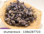 lavender bouquet wrapped in... | Shutterstock . vector #1386287723