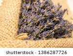 lavender bouquet wrapped in... | Shutterstock . vector #1386287726