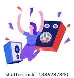 speakers and woman dancing... | Shutterstock .eps vector #1386287840