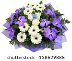 A bouquet of flowers the violet orchid, white rose, white roses and Rumohra. - stock photo