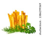french fries low poly. fresh ... | Shutterstock .eps vector #1386299369