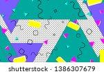 90s pattern. memphis trend.... | Shutterstock .eps vector #1386307679