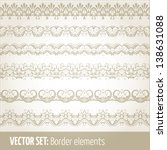 vector set of border elements... | Shutterstock .eps vector #138631088