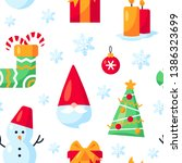 seamless pattern with christmas ... | Shutterstock .eps vector #1386323699