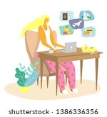 young woman using laptop for...   Shutterstock .eps vector #1386336356