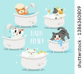 Stock vector collection of a group of cute character cartoon cat in the bathtub happy sad afraid sweet cute 1386360809