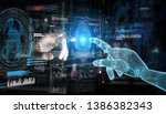 wireframed robot hand and human ... | Shutterstock . vector #1386382343