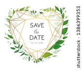 wedding floral invite ... | Shutterstock .eps vector #1386399353