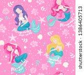 pink mermaid pattern. mermaid... | Shutterstock .eps vector #1386405713