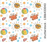 summer themed kawaii seamless... | Shutterstock .eps vector #1386433043