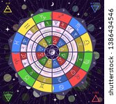 zodiacal circle for studing... | Shutterstock .eps vector #1386434546