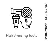 hairdressing tools vector line... | Shutterstock .eps vector #1386439709