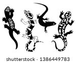 set of stylized lizard. a... | Shutterstock .eps vector #1386449783