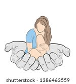 girl sits in the palms. vector... | Shutterstock .eps vector #1386463559
