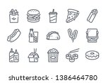 fastfood related line icon set. ... | Shutterstock .eps vector #1386464780