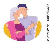 young man hug her old mother... | Shutterstock .eps vector #1386496616