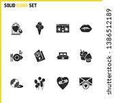 love icons set with vinyl ...