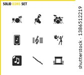 melody icons set with drums ... | Shutterstock .eps vector #1386512219
