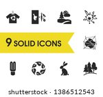 ecology icons set with rabbit ...