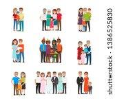 set of happy families group... | Shutterstock . vector #1386525830