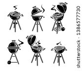 grill elements set. collection... | Shutterstock .eps vector #1386577730