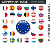 set of flags european union and ... | Shutterstock .eps vector #1386588350