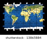 3d coloured puzzle with world...   Shutterstock . vector #13865884