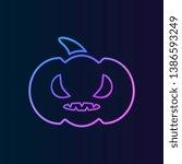 evil pumpkin  icon. simple thin ...
