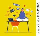 meditation. yoga at the office. ... | Shutterstock .eps vector #1386599780
