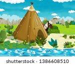 cartoon scene with american...   Shutterstock . vector #1386608510
