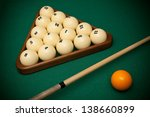 billiard balls and cue on a...   Shutterstock . vector #138660899