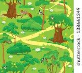 seamless pattern   green forest ... | Shutterstock . vector #138661349