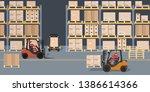 warehouse scene. storehouse and ... | Shutterstock .eps vector #1386614366