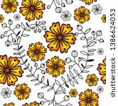 seamless pattern with orange...   Shutterstock .eps vector #1386624053