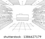 grocery store shop interior... | Shutterstock .eps vector #1386627179