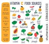 vitamin c food sources. vector... | Shutterstock .eps vector #1386633533